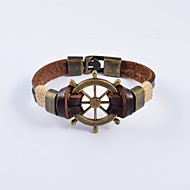 Муж. Кожаные браслеты Нержавеющая сталь Кожа Уникальный дизайн Мода Бижутерия Коричневый Бижутерия 1шт