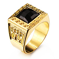 Famous Black Square Maze 18K Gold Plated Stainless Steel Men's Ring Jewelry Christmas Gifts