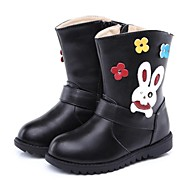 Girl's Winter Fashion Boots Calf Hair Outdoor / Casual Flat Heel Zipper Black / Brown / White / Coral