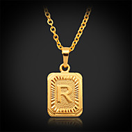 U7®Cute R Alphabet RIGHT Pendant Necklace Women's 18K Real Gold Plated Choker Chain Jewelry for Women