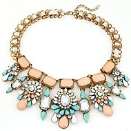 European Style Fashion Metal Bright Shining Gem Short Temperament Exaggerated Necklace(More Colors)