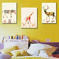 sträckt arbetsytan konst dekorativt djurakvarellmålning set om 3