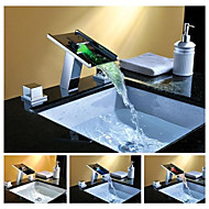 Charmingwater® Contemporary  Three Color Changing LED Waterfall Chrome Brass Double Handle Bathroom Sink Faucet