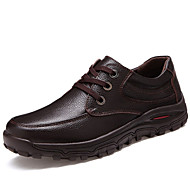 Men's Spring Summer Fall Winter Comfort Leather Office & Career Casual Flat Heel Lace-up Black Brown