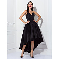 TS Couture Cocktail Party / Prom Dress - Black Plus Sizes / Petite Ball Gown Spaghetti Straps Asymmetrical Taffeta