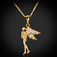 U7®Luxury Angel Spark AAA+ Cubic Zirconia Zircon 18K Real Chunky Gold Plated Pendant Charm Necklace for Women Girls