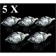 4W E14 LED Candle Lights C35 3 SMD 250-300 lm Warm White / Cool White AC 110-130 V