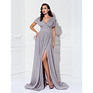 Formal Evening / Military Ball / Black Tie Gala Dress - Plus Size / Petite Sheath/Column V-neck Sweep/Brush Train Chiffon