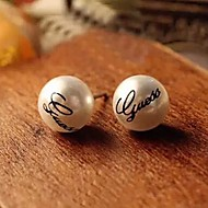 Women's  Vintage Fashion Guess Imitation Pearl Earring Stud