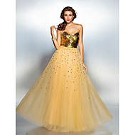 TS Couture® Prom / Formal Evening Dress - Gold Plus Sizes / Petite A-line Sweetheart Floor-length Tulle / Sequined