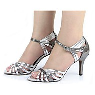 Non Customizable Women's Dance Shoes Latin Leatherette Stiletto Heel Silver