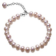 BRI.R® Fashion  7-7.5mm Natural  Pearl Bracelet  7'' with 2'' Thail Chain S925 Silver Clasp