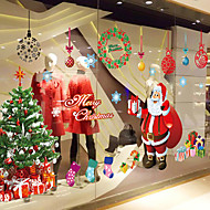 "Merry Christmas Santa Claus And Gifts Window Sticker (23.64""W × 35.4""L)"