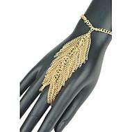 kvinders europæiske bladform kvast hånd kæde ring armbånd