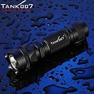 Tank007® פנס LED / פנסי יד LED 500 Lumens 5 מצב Cree XM-L T6 18650 / 16340עמיד למים / ניתן לטעינה מחדש / עמיד לחבטות / אחיזה נגד החלקה /