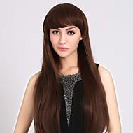 Generous Fashion Natural Full Bang Long Straight Hair Wigs