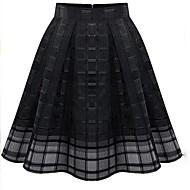 jupe noire solide, genou longueur millésime maillage des femmes