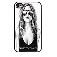 Personalized Phone Case - Beautiful Girl Design Metal Case for iPhone 4/4S