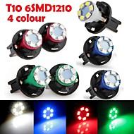 6ks na přístrojové desce dashboard žárovka DC12V ,2w T10 6LED 1210smd zelená modrá červená bílá + 6ks zásuvka