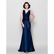 Lanting Trumpet/Mermaid Plus Sizes / Petite Mother of the Bride Dress - Dark Navy Sweep/Brush Train Sleeveless Taffeta / Lace