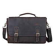 Mens Vintage Bull Real Leather Briefcase Messenger Bag