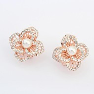 Women's Gorgeous Pearl Rhinestone Pave Openwork Flower Stud Earrings