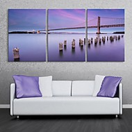 E-HOME® Stretched Canvas Art On The River Bridge Decoration Painting Set of 3