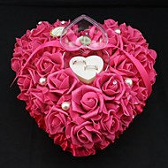 Heart Shape Rose Flower Pearl Ring Box Pillow for Wedding (26*26*13cm) Coral Wedding