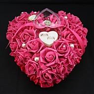 Herzform Rosenblumenperlen-Ring-Box für Hochzeit Kissen (26 * 26 * 13cm) Korallen Hochzeit