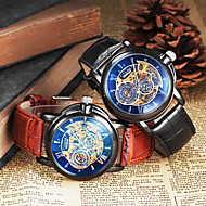 CJIABA Men's Hollow Engraving Classic Dial Leather Band Automatic Self Wind Dress Watch (Assorted Colors) Wrist Watch Cool Watch Unique Watch
