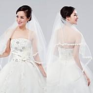 Wedding Veil One-tier Elbow Veils Lace Applique Edge 59.06 in (150cm) Tulle
