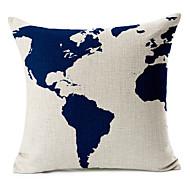 Mapa modrý vzor bavlna / len dekorativní polštář kryt