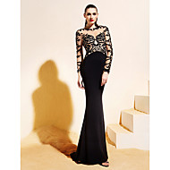 Homecoming TS Couture Formal Evening Dress - Black Trumpet/Mermaid Bateau Sweep/Brush Train Jersey