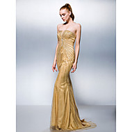 Formal Evening Dress Plus Size / Petite Trumpet / Mermaid Strapless Sweep / Brush Train Tulle / Stretch Satin with Beading