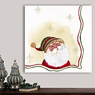 Christmas Decoration Stretched Canvas Print Art Cartoon Santa with Golden Snowflakes by Beverly Johnston