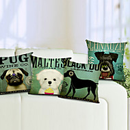 set om 4 hund bomull / linne dekorativa örngott