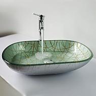 zilver ellips gehard glazen vat zinken met waterval kraan, pop - up afvoer en montage ring