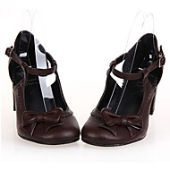 PU Leather 6.5CM High Heel Gothic  Lolita Shoes with Row