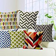 conjunto de 6 geométrica algodão / linho fronha decorativo