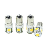 4szt BA9s (T4W w6w) 2.5W 5x5054smd 160-180lm 3000-3500k ciepłe białe światło dla samochodów lndicator (dc12-16v)