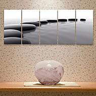e-Home® sträckta canvas konst arrangemang av den svarta stenen dekorativt måleri uppsättning av 5