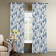 Oriental Classic Blue and White Pottery Curtain Two Panels