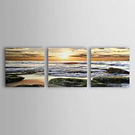 Stretched Canvas Art Landscape Rolled Waves Set of 3