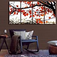 e-HOME lona envuelta arte otoñal de hojas rojas conjunto de pintura decorativa de 4