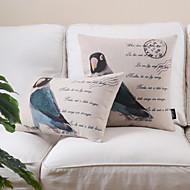 Conjunto de 2 countrystyle padrão pássaro algodão / linho fronha decorativo