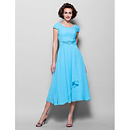 A-line Plus Sizes Mother of the Bride Dress - Pool Tea-length Short Sleeve Chiffon