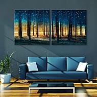 e-Home® allungato portato Tela boschi arte effetto del flash led set di 2