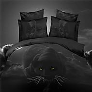 Duvet Cover Set,Hot Selling 3D Bedding Sets Reversible Duvet Cover Bed Sheet Set Bed in a Bag with  HD Leopard Pattern