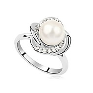 Fashion Alloy Pearl Flower Ring (More Colors)