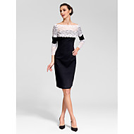 Homecoming Cocktail Party Dress - Black Sheath/Column Bateau Knee-length Polyester